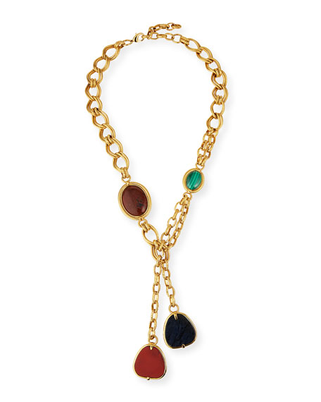 Jose & Maria Barrera Long Textured Chain Lariat w/ Stones