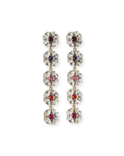 Dahlia Longer Crystal Earrings  Pink