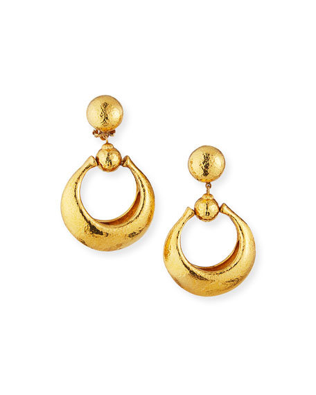 Jose & Maria Barrera Hammered Door-Knocker Clip Earrings