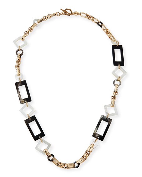 Akola Long Horn & Mother-of-Pearl Chain Necklace