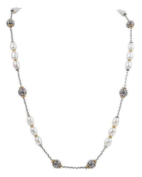 Konstantino Kleos Pearl-Trio Long Necklace w/ 18k Gold