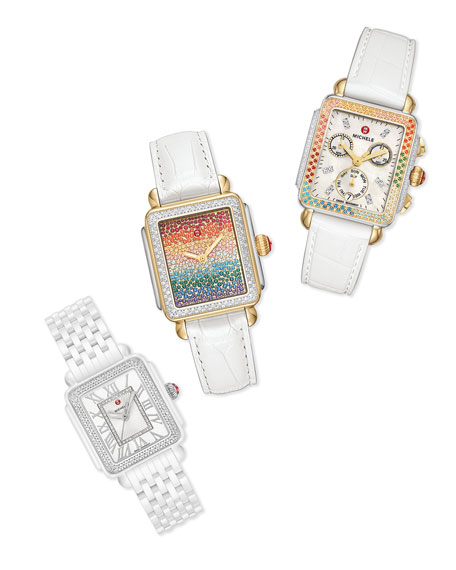 Image 2 of 4: MICHELE Deco Carousel Diamond Silicone Watch