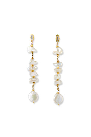 Sequin Linear Pearl Dangle Earrings