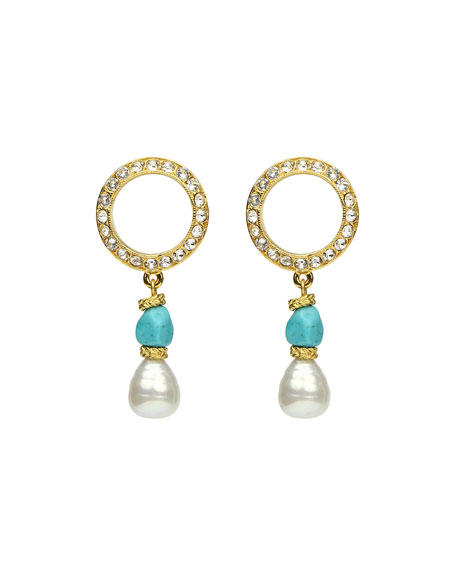 Ben-Amun Pearly Turquoise-Stone Dangle Earrings