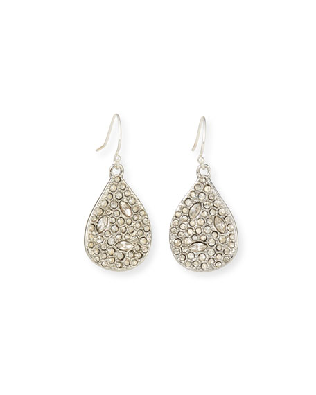 Image 1 of 2: Alexis Bittar Crystal Encrusted Tear Drop Wire Earrings, Silver
