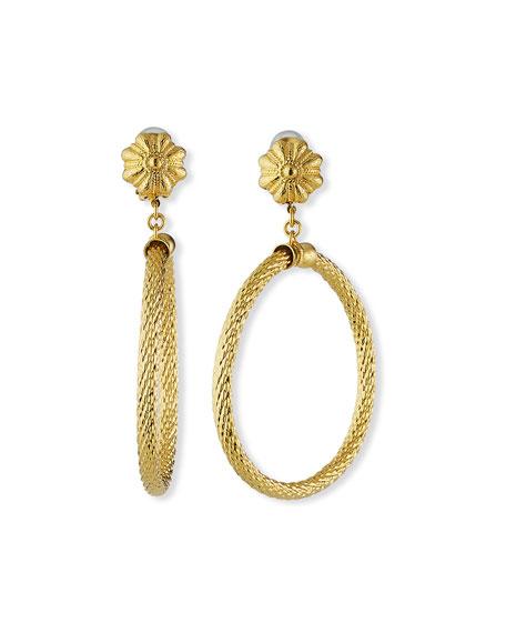 Jose & Maria Barrera Large Textured Hoop-Drop Clip Earrings