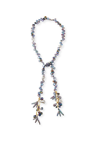 Devon Leigh Gray Freshwater Pearl Lariat Necklace