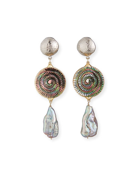 Devon Leigh Shell & Grey Pearly Earrings