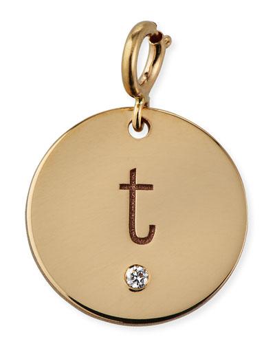 Personalized 14k Medium 1-Diamond Initial Disc Pendant