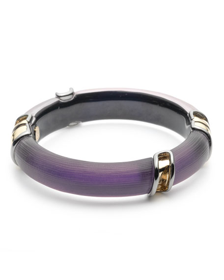 Alexis Bittar Two-Tone Sectioned Hinge Bracelet, Purple