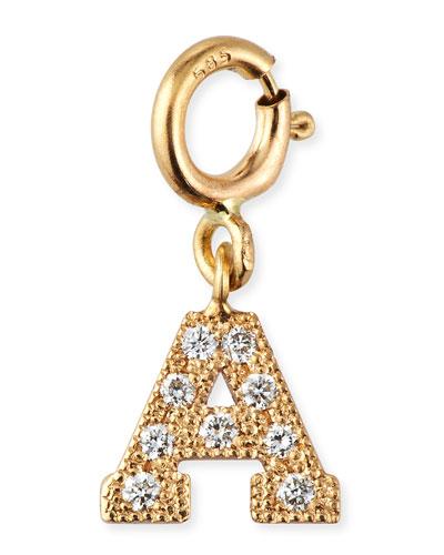 14k Pave Diamond Block Initial Pendant