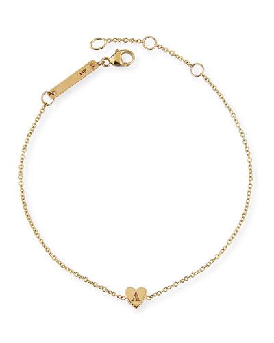 14k Personalized Tiny Heart Initial Bracelet