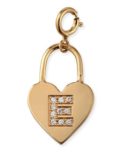 14k Small Heart Charm w/ Diamond Initial