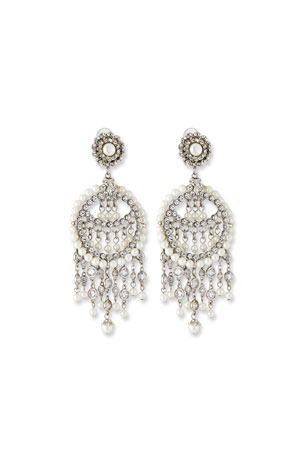 Jose & Maria Barrera Pearly Chandelier Clip Earrings