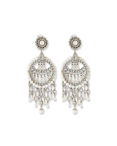 Pearly Chandelier Clip Earrings