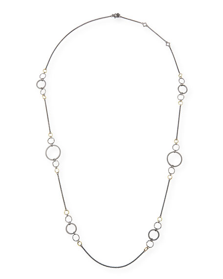 Image 1 of 2: Armenta Old World Long Alternating Link-Chain Necklace