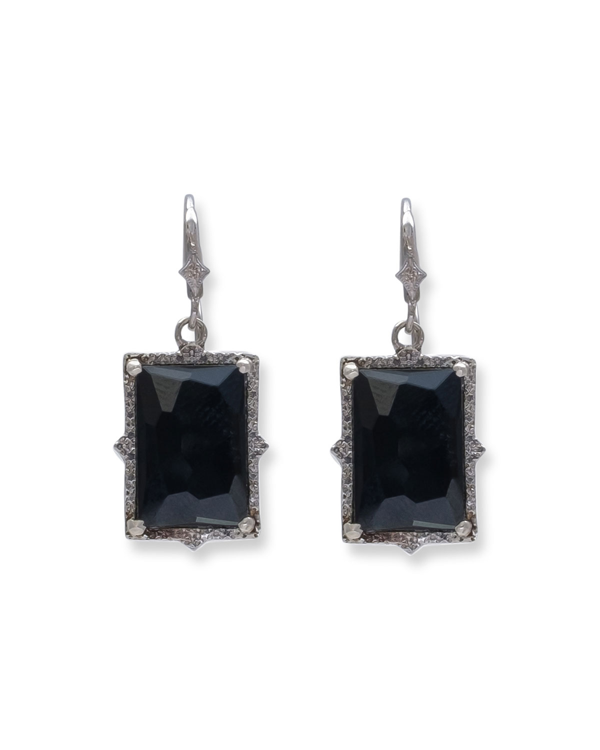 New World Hematite/Quartz Doublet Drop Earrings by Armenta