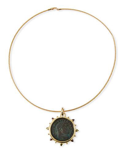 Roman Bronze Coin Choker in 18k Gold