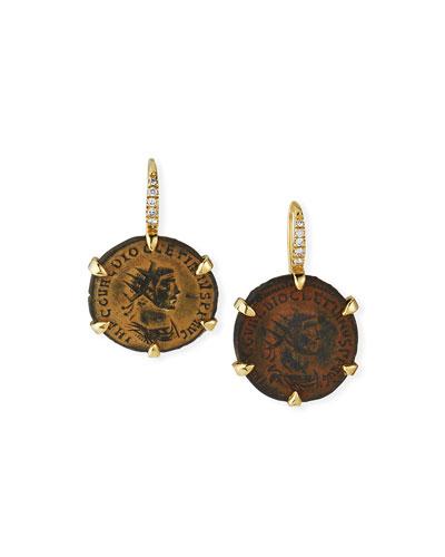Maximian Roman Coin Earrings in 18k Gold and Diamonds