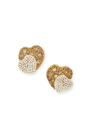 Gold Tone /& Black Mustache Design Stud Earrings