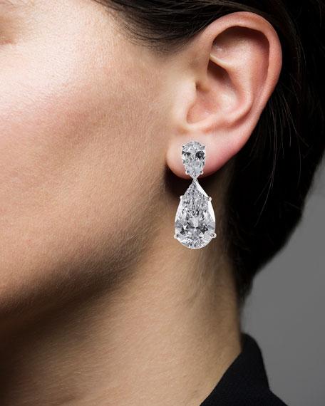 Golconda by Kenneth Jay Lane Double-Pear Cubic Zirconia Drop Earrings