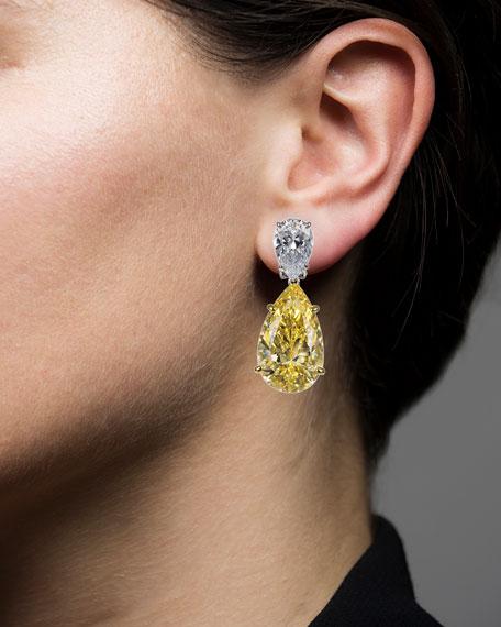 Golconda by Kenneth Jay Lane Double-Pear Cubic Zirconia Drop Earrings, Yellow