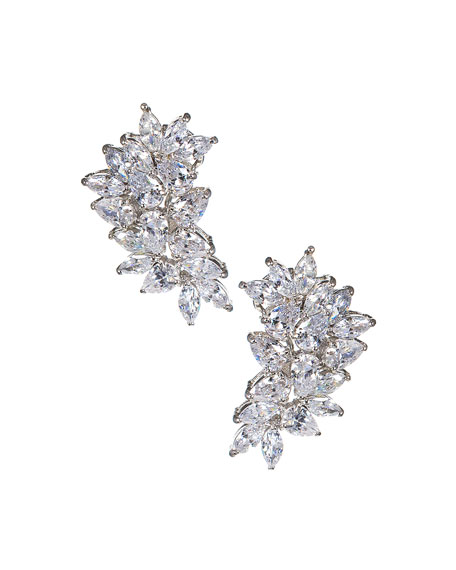 Golconda by Kenneth Jay Lane Cubic Zirconia Pear & Marquise Cluster Earrings