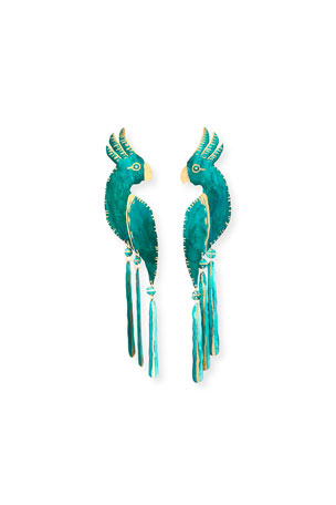 We Dream in Colour Cockatoo Earrings, Verdigris