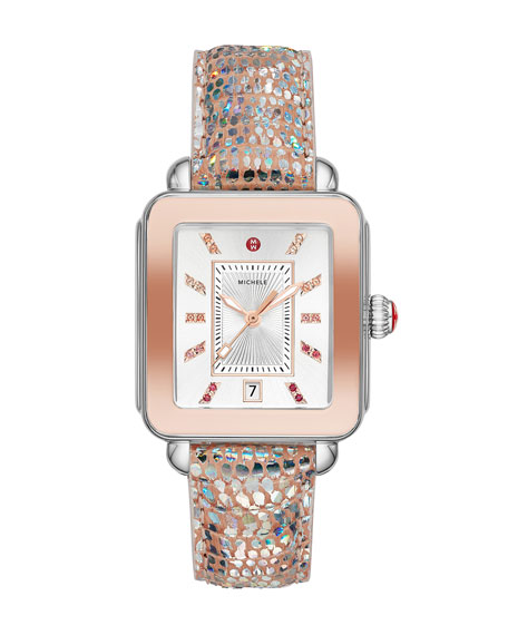Image 1 of 3: Deco Sport Iridescent 2-Tone Pink Gold & Lizard Watch
