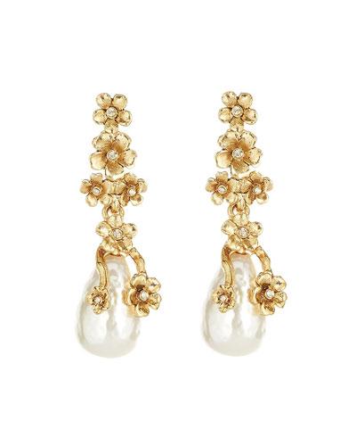 Metal Flower Pearly Drop Earrings