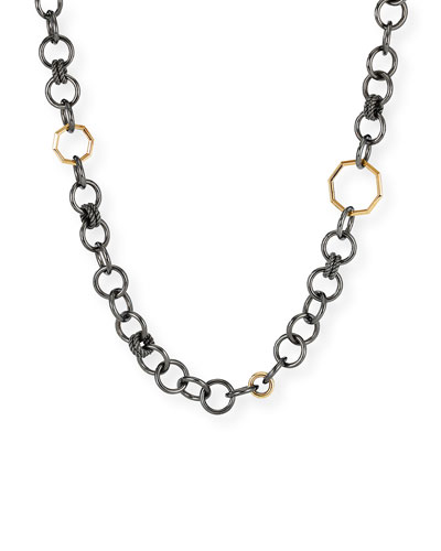 Stack Round-Link Necklace in Black Rhodium and 18k Gold  36L