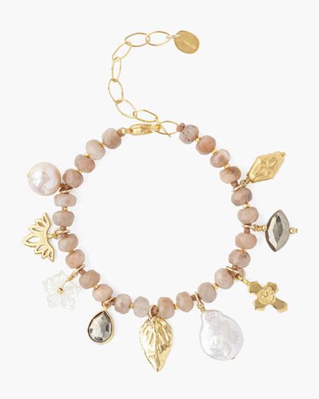 Chan Luu Adjustable Beaded Charm Bracelet