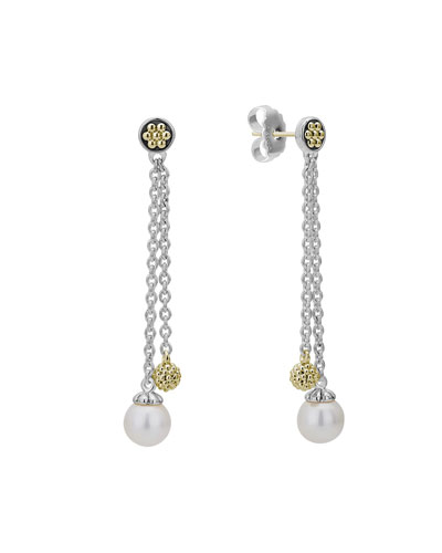 Luna Pearl and Gold Ball Two-Chain Post Drop Earrings