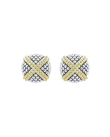 Image 2 of 3: Lagos Signature Caviar Two-Tone Domed X-Stud Earrings