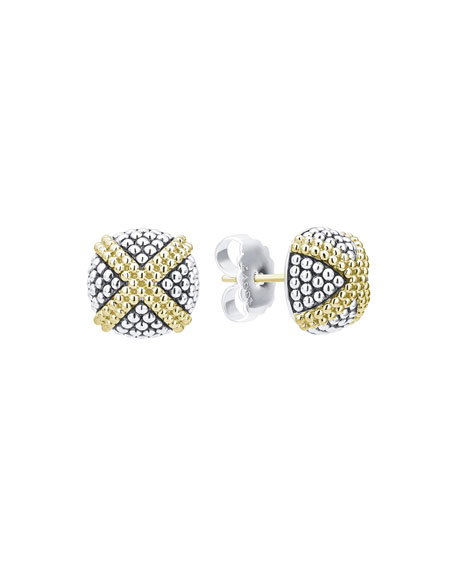 Image 1 of 3: Lagos Signature Caviar Two-Tone Domed X-Stud Earrings