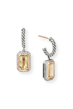 David Yurman Novella Cable Drop Earrings with Citrine and Diamonds