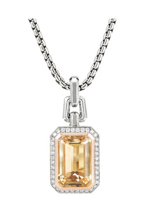 David Yurman Novella Stone and Diamond Pendant in Citrine