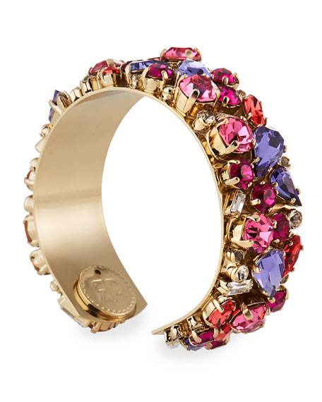 Rebekah Price Gladys Crystal Cuff Bracelet, Pink