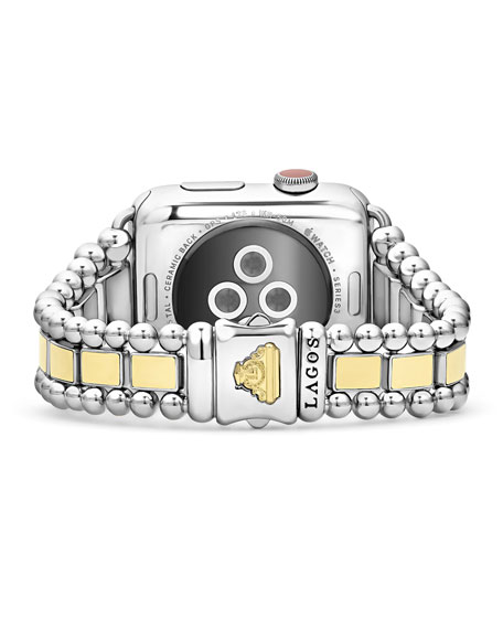 Image 2 of 4: Lagos Smart Caviar Two Tone 42mm Watch Bracelet, Medium