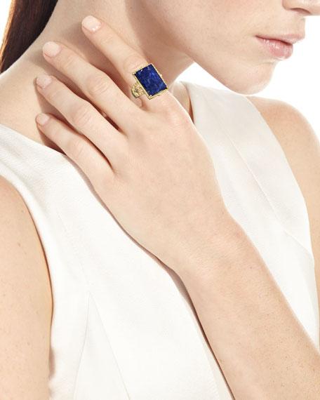 Armenta Rectangular Lapis Ring w/ Diamonds, Size 7
