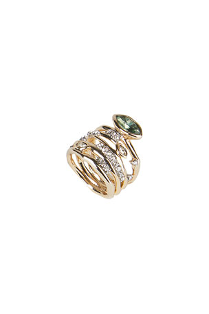 Alexis Bittar Navette Crystal Layered Ring, Size 6-8