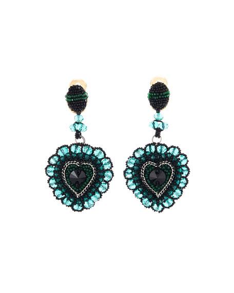 Oscar de la Renta Embellished Runway Heart Clip Earrings