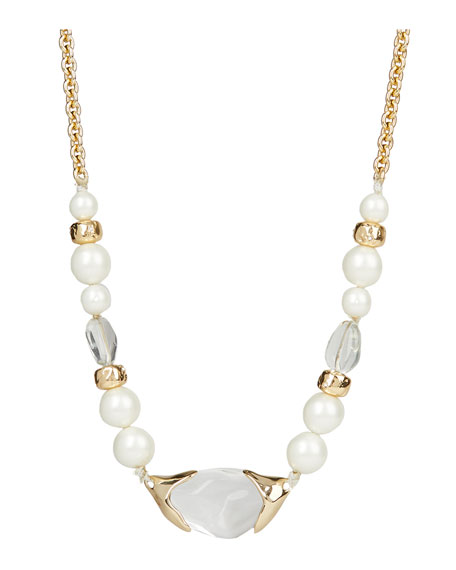 Image 1 of 2: Encased Pebble Pearl-Strand Necklace