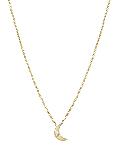 Image 1 of 2: Zoe Lev Jewelry 14k Gold 1-Diamond Moon Necklace