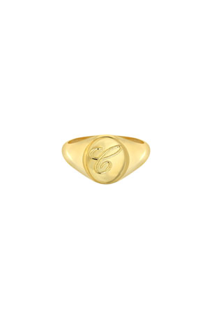 Zoe Lev Jewelry Small Personalized Initial Signet Ring, Size 4-8