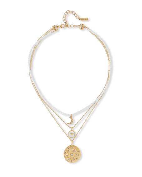 Sequin 3-Pendant Celestial Necklace