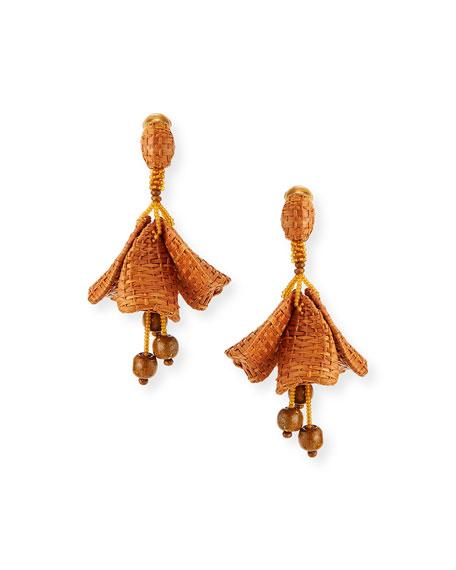 Oscar de la Renta Raffia Impatiens Clip Earrings