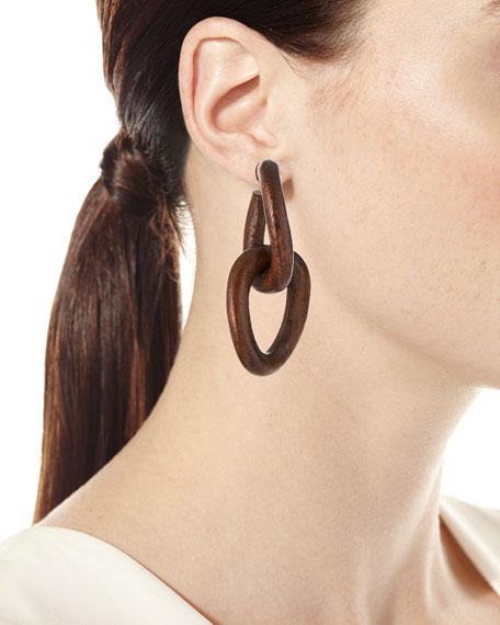 Oscar de la Renta Wood-Link Earrings