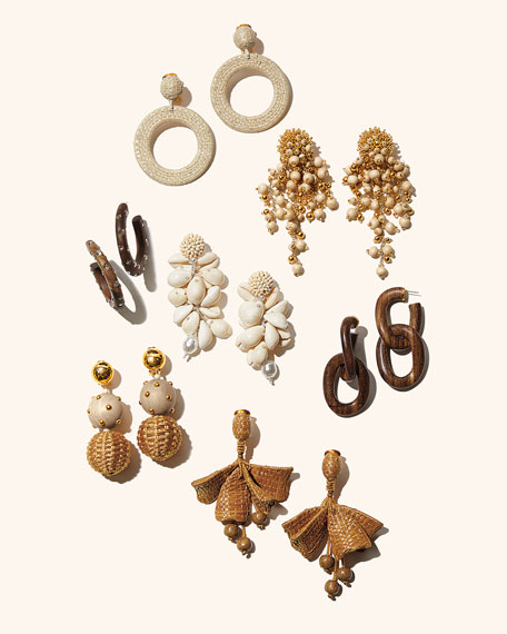Oscar de la Renta Raffia Hoop-Drop Clip Earrings