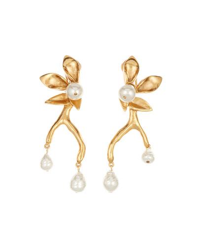 Pearly Flower Branch Clip Earrings